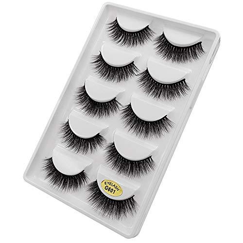 5 Paar 3D Natürliche Dicke Falsche Gefälschte Wimpern Wimpern Makeup Extension (5 Paar,1B)
