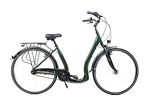 28 Zoll Aluminium City Bike Tiefeinsteiger Fahrrad Shimano 7 Gang Nexus LED dunkelgrün