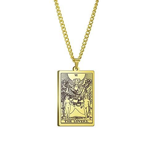 WUJIAO Collar de Tarot, sexta Carta, Hecho a Mano, Regalo de San Valentín, joyería de Amuleto para Hombres Golden