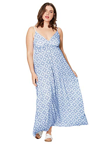 Ellos Women's Plus Size Knit Surplice Maxi Dress - White Blue Tile, 5X