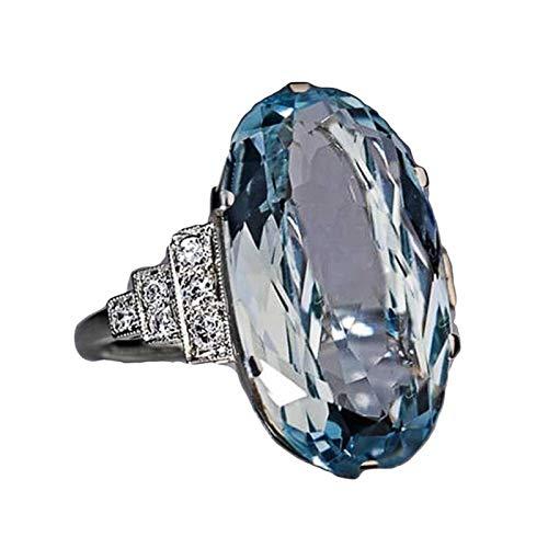 EzzySo Anillo de Cristal Azul, joyería Redonda de Huevo Americana, joyería de Anillo de aleación Simple (2 Piezas),8