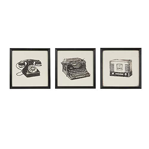 Intelligent Design, Vintage Models Wall Art 3 Pieces Gel Coated Canvas, Black Frame, Modern Antique, Older Model Phone, Typewriter, Radio Painting Living Room Décor, Black/White, 13.34 x 13.34
