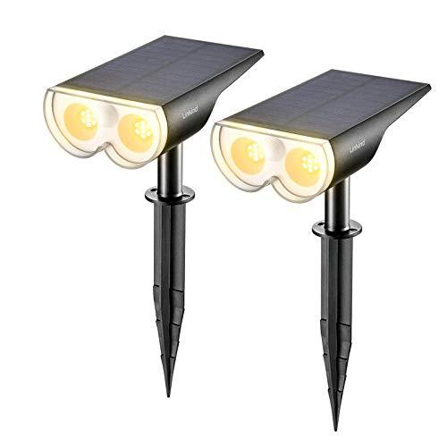 Linkind Lámparas solares para exteriores con detector de movimiento, IP67, resistente al agua, 3000 K, blanco cálido, 650 lm, lámpara solar para jardín, puerta de entrada, garaje, pack de 2 unidades