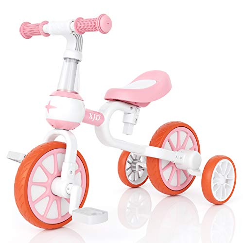 XJD 3 in 1 Baby Balance Bike for 18 Months to 4 Years Old Boys and Girls Toddler First Bike Kids 4 Wheel Balance Bicycle with Adjustable Seat Detachable Pedal and Training Wheels Infant Gift, Pink