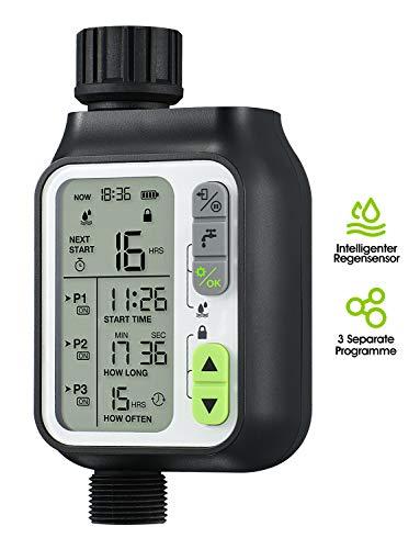 Homitt Bewässerungscomputer Upgraded, Wasserzeitschaltuhr mit Regensensor Funktion, Automatische Wasser Timer mit 3 Separaten Bewässerungsplan