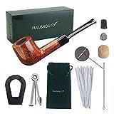 Fulushou - Pipa de tabaco de madera de brezo mediterráneo, pipa de tabaco de madera hecha a mano, tubo de madera de caballeros, regalo perfecto para caballeros, bolsa de pipa con caja de regalo