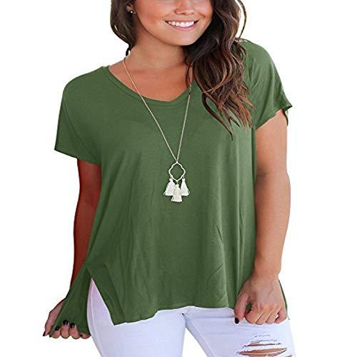 Camiseta para Mujer Color sólido Costura Suelta Tendencia Apertura Lateral Moda Simple Cuello en V Casual Manga Corta Jersey Top XXL