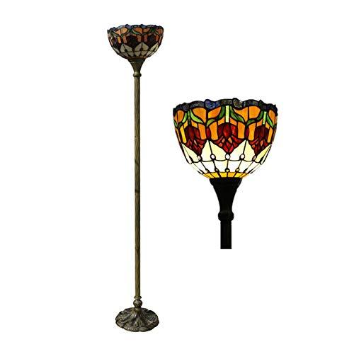 WWKDM Lámpara de pie Tiffany Style Tulip Torchieres Lámpara de pie de Lectura Vintage con vitrales para Sala de Estar, Dormitorio, cafetería, Bar, 67 Pulgadas de Alto Good Stuff