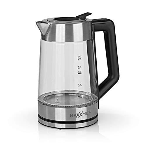 MAXXMEE Glas-Wasserkocher Smart Deckel 2200W | Mit 5 Temperaturstufen für verschiedene Teesorten | Inklusive Warmhaltefunktion & Clevere Einfüllöffnung | Großes Fassungsvermögen 2 Liter [Edelstahl]