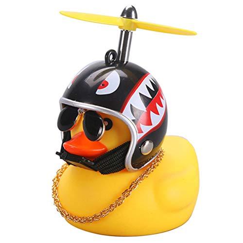 Atrumly Adorno de pato para coche, diseño de pato amarillo, con casco de hélice, para adultos, niños, juguete de bebé con luz