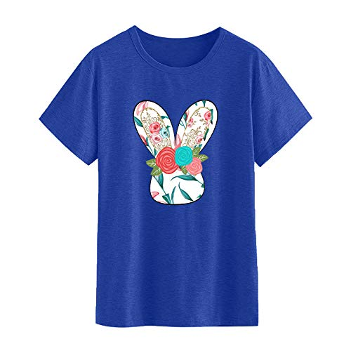 Benficial Easter T Shirt for Women,Women's Pattern Short Sleeve Tunic Tops Women Crew Neck Stylish Pullover T-Shirt Casual Loose Fit Blouse Tshirts Sale Summer Cheap Tee Shirt Tops for Easter