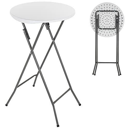 ANJI DEPOT Folding Bar Table,Folding Table Plastic Foldable Indoor & Outdoor for Garden Bistro Bar Party Trade Fairs, Round, Poseur Table,White 1 Pack