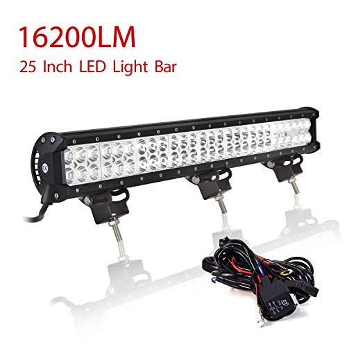 Willpower - Barra de luces LED de trabajo de 63 cm y 162 W, haz combinado de foco y haz de inundación con arnés de cableado DC 12 V-24 V, 6000 K, barra LED, 4x4, camión, tractor, vehículos todo terreno, ATV, UTV