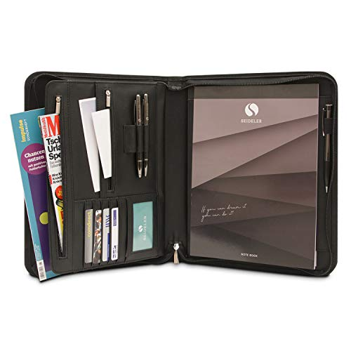 SEIDELER Premium Schreibmappe A4 im Geschenkkarton - Hochwertige Konferenzmappe mit gratis Notizblock - Portfolio in Geschenkbox