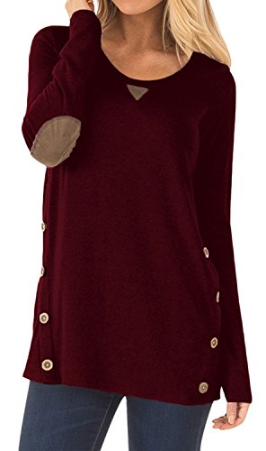 Women's Long Sleeve Casual Blouse Faux Suede Button Decor Loose Tunics T-Shirt Tops Wine Red XX-Large