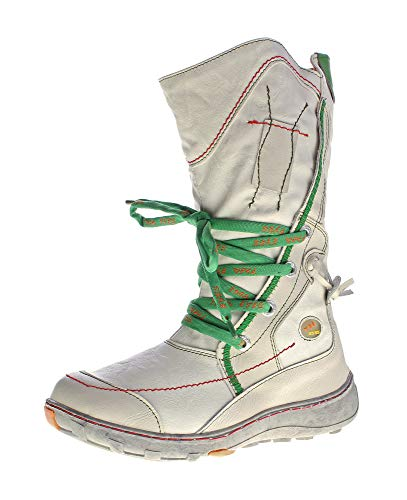 TMA Leder Damen Winter Stiefel 1384 Schuhe gefüttert Weiß-Creme Bunte Ziernähte Winterstiefel Gr. 36