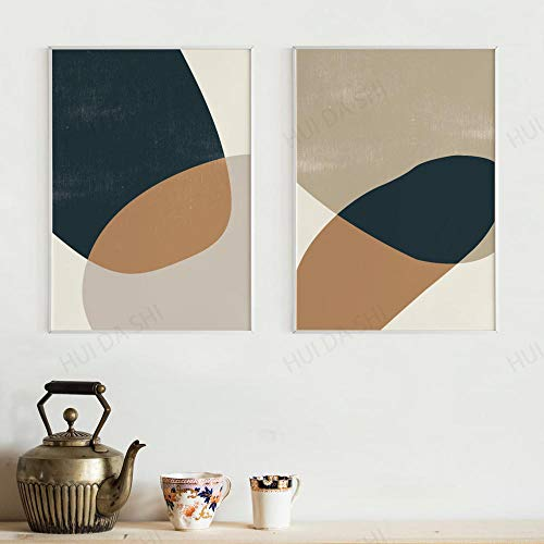 LZASMMVP Contemporary Art Set of 2 - Neutral Colors Gallery, Minimalist Wall Art, Boho, Scandinavian Art Prints 60x80cmx2Pcs No Frame
