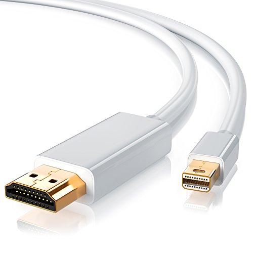 CSL – Cavo Mini Displayport HDMI da 2 Metri di Alta qualitá – 2K - Certificato – Connettori Dorati – Compatibile con PC e Apple Mac MacBook PRO MacBook Air - Bianco