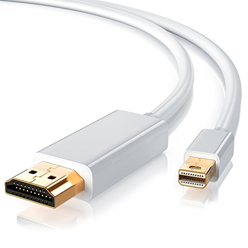 CSL – Cavo Mini Displayport HDMI da 5 Metri – 2K - Certificato – Connettori Dorati – Compatibile con PC e Apple Mac MacBook PRO MacBook Air - Bianco