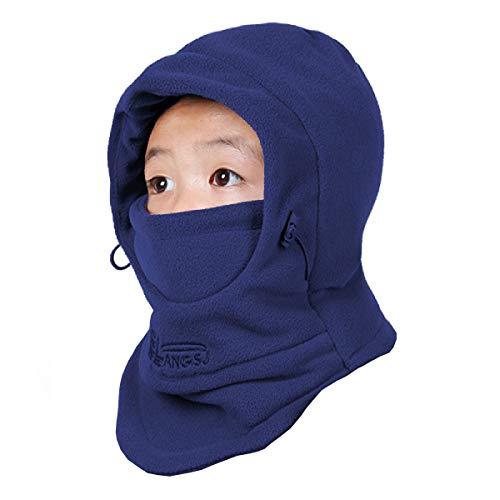 TRIWONDER Pasamontañas Sombrero Máscara de esquí Clima Frío Mascarilla Cuello Calentador de Nariz de Invierno para Niños (Azul Marino)