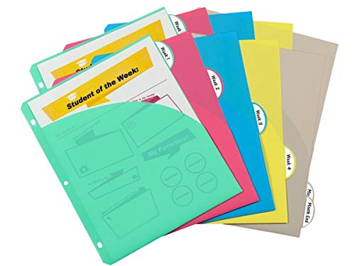 1InTheOffice Binder Dividers with Pockets for 3 Ring Binder, 5-tab Assorted Colors Double-Sided, 8.5x11 2 Pack