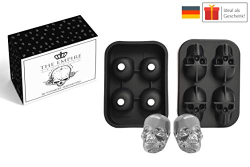 THE EMPIRE PRODUCTS Totenkopf Silikonform Eiswürfelform Schwarz: Auch als Backform, Kuchenform, Schokoladenform. 3D Skull Eiswürfel. Kuchenform Silikon. Backform Silikon.