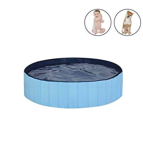 MorTime Foldable Dog Pool Portable Pet Bath Tub Large Indoor & Outdoor Collapsible Bathing Tub for Dogs and Cats (S, 31' x 8')