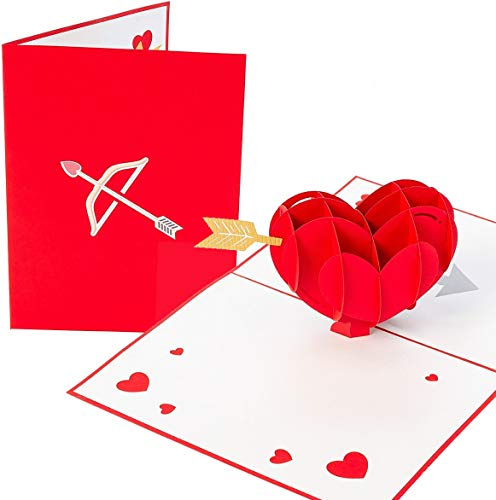 PopLife Cupid's Heart 3D Pop Up Valentine's Day Card - Happy Anniversary for Her, Just Because, Date Night, Mother's Day for Wife - for Girlfriend, Fiance, Husband, for Him