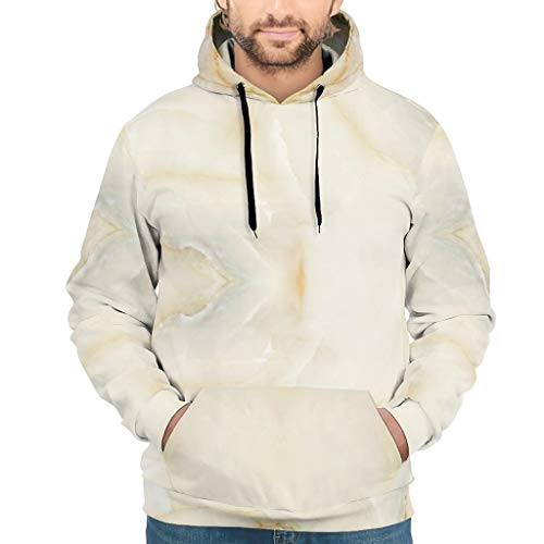 Lind88 Sudadera para hombre con textura de mármol de moda - Cool Tone poliéster con capucha chaqueta blanca l