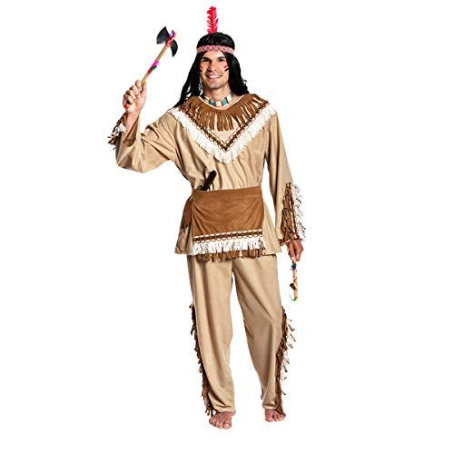 Kostümplanet® Indianer-Kostüm Herren Karnevals-Kostüme Outfit Fasching Verkleidung Fasching Häuptling Erwachsene Männer Indianerkostüme L Größe 52/54