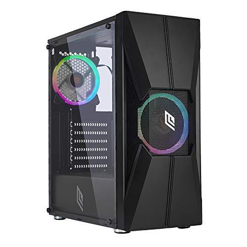Noua Nexus P12 Black Case ATX per PC Gaming 0.45MM SPCC 3*USB3.0/2.0 con 2 Ventole RGB Addressable 5V 3-Pin Frontale Mesh/ABS e Pannello Laterale in Vetro Temperato (AxPxL: 425x379x196 mm)