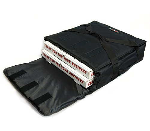 Black Polyester Insulated Pizza / Food Delivery Bag 16″ – 18″ Professional Pizza Delivery Bag- Moisture Free- Extra Insulation Added To Keep Your Pizza Hot Longer