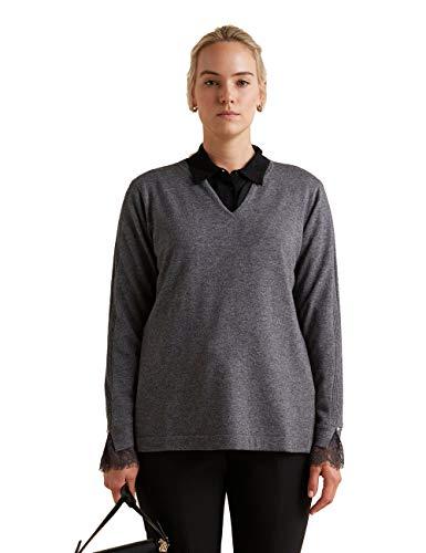 Elena Mirò : Pullover mit Spitze am Ärmelende Grau XL (Italian Size)