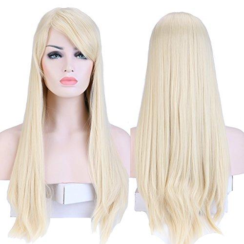 S-noilite® Wie Echthaar Damen Lang Haar Perücken Mode Glatt Perücke Täglich Cosplay Partei Party Kostüm Wig - Bleach blond