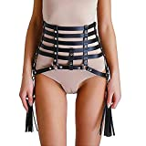 Women's Leather Waist Belt Rave Body Cage Harness with Tassels Punk Adjustable(LS)