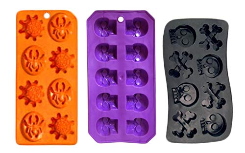 Set of 3 Spooky Halloween Shaped Ice Cube Tray/Food Molds - skull and bones,spider and webs,skulls (3)