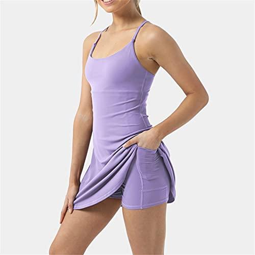 XTONG Damen üBungs-Trainingskleid Mit Integrierten Shorts Mit Taschen, Damen LäSsiges üBungs-Trainingskleid, äRmelloses Damen-Trainings-Tenniskleid XL Flieder