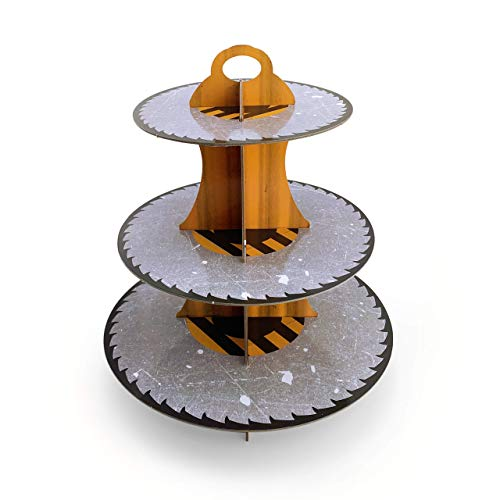 3-Tier Construction Round Cardboard Cupcake Stand (12'W x 13.5'H) Birthday Wedding Special Event Decoration