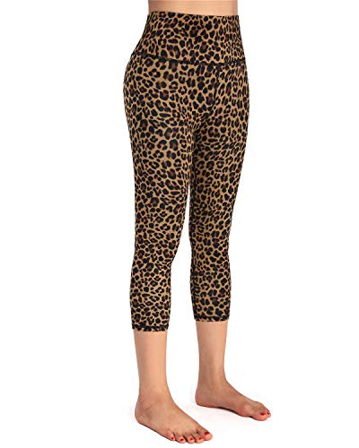 EASYSO Capri Yoga Pants for Women with Pockets 4 Way Stretch Running Tights(Brown Leopard, M)