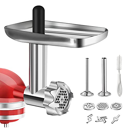Metal Food Grinder Attachment for KitchenAid Stand Mixers, BQYPOWER...