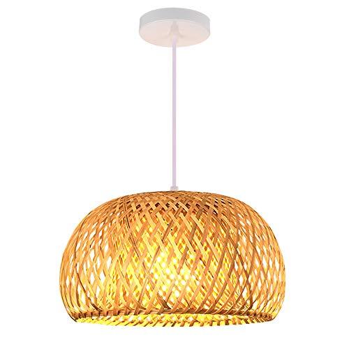 TTAototech Sombra Luz de bambú de Techo de Estilo Chino lámpara de Techo de la Pantalla Redonda de bambú para Bar Sala de Estar