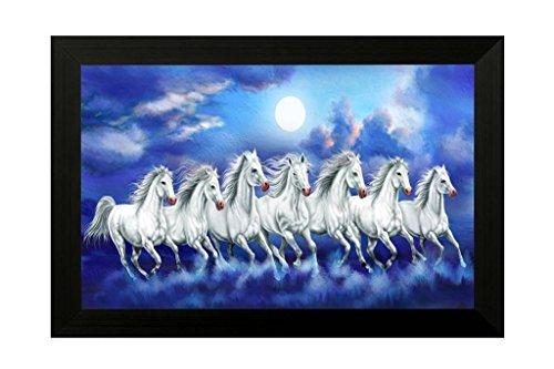 SAF Wood 7 Running Horses Painting (35x2x50cm) SANFH6783