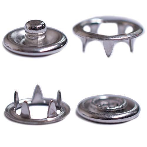 GETMORE Parts Druckknöpfe Jersey, Jersey-Snaps, Metallknöpfe, Edelstahl (INOX), rostfrei, nickelfrei - ab 50 Stück, 9,5 mm, Silber
