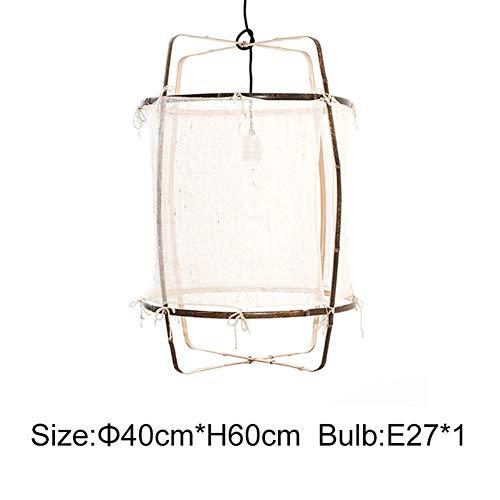 Haushaltsbeleuchtung Pendelleuchten For Wohnzimmer Esszimmer Schlafzimmer Hängelampe Bambus Leinen Hängende Lampen-Beleuchtungskörper (Farbe : Weiß)