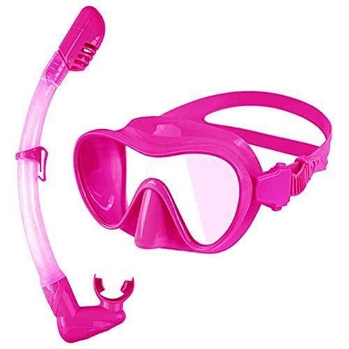 AWJ Máscara de Buceo Impermeable Buceo de Alta definición Conjunto Completo de Snorkel en seco Se Adapta a la Cara Respiración cómoda (Color: Rosa, Talla: L)
