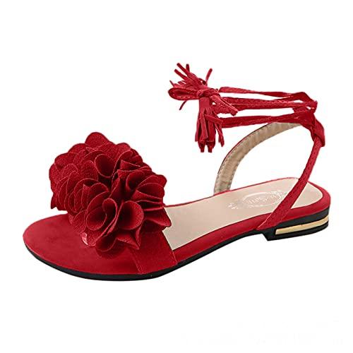 Sandalias de Tiras Mujer con Flor Sandalias de Vestir Elegantes para Matrimonio Ceremonia Baile Boda Zapatos Verano Planas Romanas Bohemia Moda Borla Sandalias Mujer Verano 2021 Punta Abierta