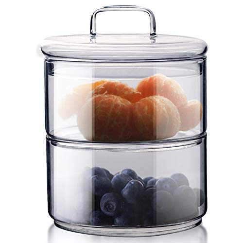 TAMUME Glas Dessert Schüssel Set Süßigkeit Behälter Tee Kaffee Zuckerdosen für Hochzeit und Party Glas-Lebensmittelbehälter (450ml *2 mit Deckel)