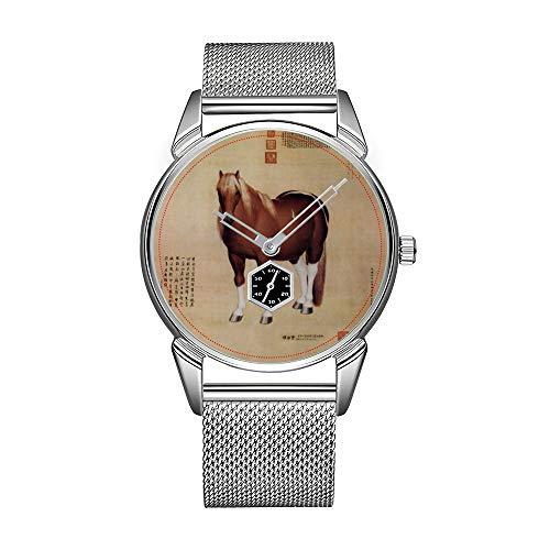 Mode herrenuhr silbrig Edelstahl wasserdicht Uhr männer top Marke herrenuhr Uhr chinesischen Alten Papyrus mit Pferd malerei Uhren