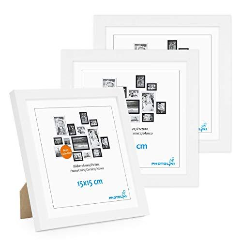 Photolini Juego de 3 Marcos 15x15 cm Modernos, Blancos de MDF con Vidrio acrílico, Incluyendo Accesorios/Collage de Fotos/galería de imágenes