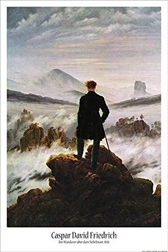 1art1 Caspar David Friedrich - Viandante sul Mare di Nebbia, 1818 Poster Stampa (91 x 61cm)
